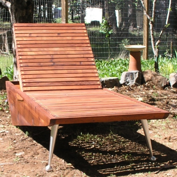 modern chaise lounge chair redwood patio by midcenturywoodshop. Black Bedroom Furniture Sets. Home Design Ideas