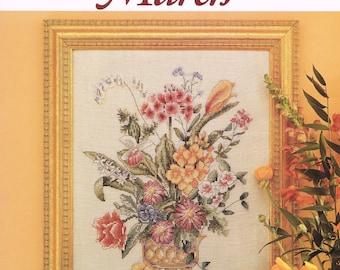 CROSS STITCH PATTERN - Flower Bouquet Cross Stitch - Just Cross Stitch Flower Of The Month March Counted Cross Stitch Pattern Chart #2012