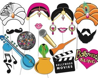 Bollywood Party Photo booth Props Set - 16 Piece PRINTABLE - Bachelorette photo booth, Bollywood Wedding, Funny photos, indian decorations