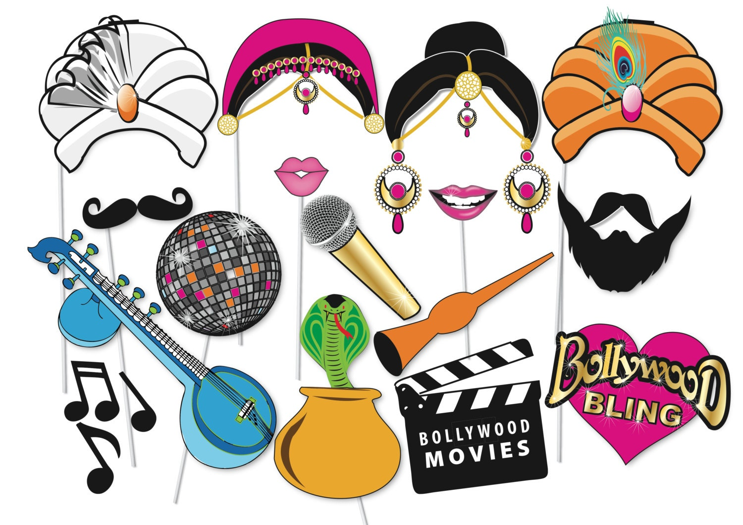 Bollywood Party Photo booth Props Set 16 Piece PRINTABLE