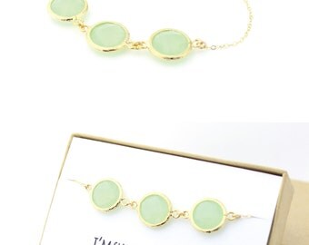 Light Mint / Gold Triple Circle Bracelet - Mint Bridesmaid Gift - Mint Green Jewelry - Bridesmaid Bracelet - Wedding Jewelry - BB3