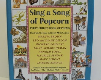 1988 Sing A Song of Popcorn Every Child's Book of Poems Brown Lobel Sendak Simont Zemach Hardcover