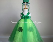 FAST SHIPPING - St. Patrick's Day tutu dress and FREE headband size nb to 9years