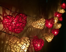 LED Battery Lights 20 White- Red Tone Heart Rattan String Lights Hanging Wedding Gift Party Patio,Bedroom fairy lights,Home Floral Decor.