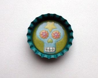 Cute Blue Bottlecap Magnet with Sugar Skull Design