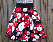 Half Apron Hostess Style - Red, White and Black  Print - Full Circle Cut Skirt - FAAP, HAFAIR, TeamHaHa