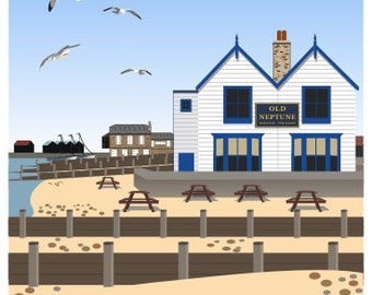 WHITSTABLE. Travel poster of The Old Neptune Pub on the Beach, Whitstable, Kent Coast. A4, A3, A2 Retro Style