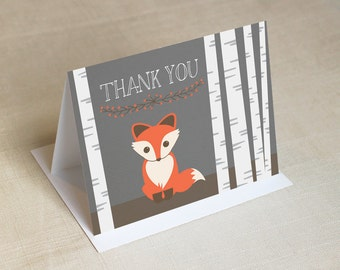Printed Baby Fox Thank You Cards Folded Thank You Cards