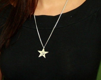 Communist Star Necklace, English Pewter, Handmade, Gift Boxed (ib-24)