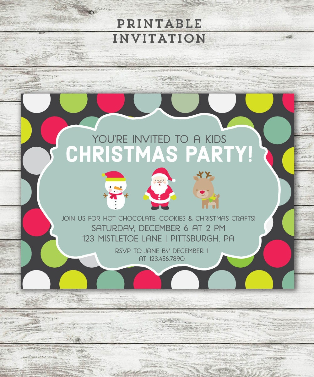 Kids Christmas Party Invitation Printable Invite Cute