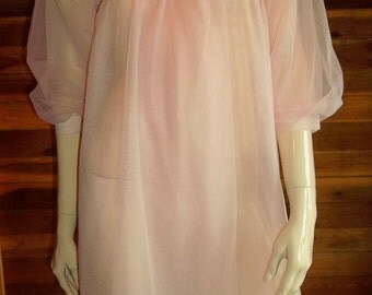 Vintage Lingerie Paul Adams Pink Chiffon Peignoir or Robe Small
