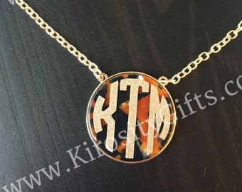 Monogrammed Tortoise Shell Necklace