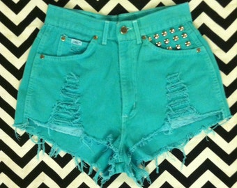 "Vintage High-Waisted Teal Studded ...Cut-Off and Destroyed Jean Shorts...27"" Waist"