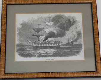 Vintage Framed Lithograph Ship Print, Trying Out