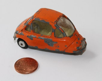 1950s Orange Corgi Heinkel-I Economy Toy Car, Vintage Die Cast Scale Model Car