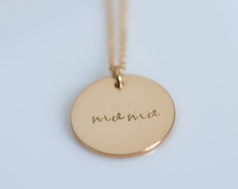 5/8 inch Mama Necklace / Gold Personalized Charm Necklace / Silver Personalized Charm Necklace