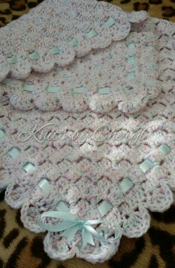 Crochet Pattern Baby Blanket Duck : Crochet Baby Blanket Carseat White with Duck Egg by ...