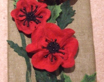 Handmade Needle Felted Picture of Poppies