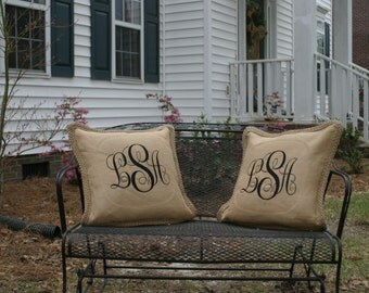 Personalized Monogrammed Custom Burlap Jute Pillow Cover, Embroidered Burlap Pillow Cover