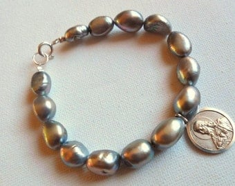Gray Pearls bracelet with antique Medal 925 sterling Silver