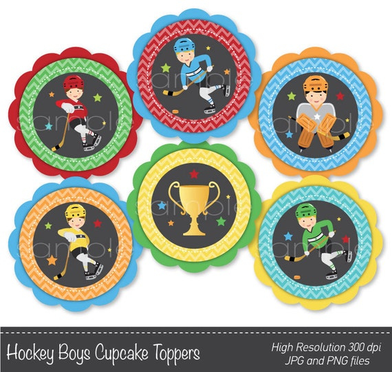 Hockey Boys Cupcake Toppers , Hockey stickers, Hockey birthday, Hockey ...