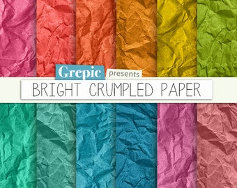 "Wrinkled paper: digital pack ""BRIGHT CRUMPLED PAPER"" old paper 