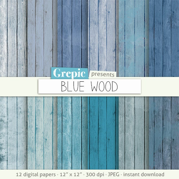Wood Digital Paper Quot Blue Wood Quot With Painted Rustic Distressed Wood In Cool Blue Colors