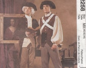 McCalls 2258 Mens Revolutionary War, Colonial, Frock Coat, Weskit, Shirt, Breeches, Tricorn Hat, Size 40, 42, 44 & 44, 46, 48