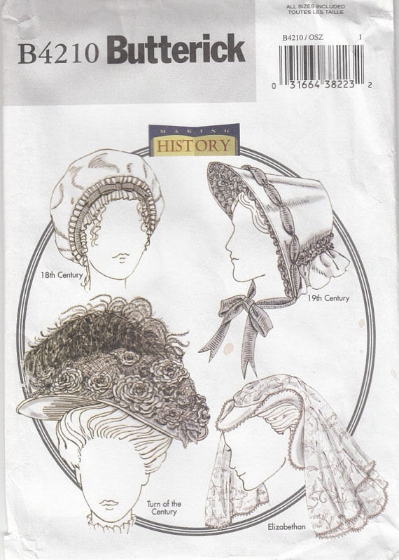 Butterick 4210 historical hats colonial mob cap civil war for Colonial hat template