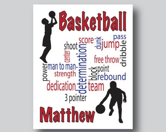 Boys Sports Room Decor, Basketball Print, Basketball Poster, Basketball Gift, Sports Poster, Basketball Coach Gift, You Personalize