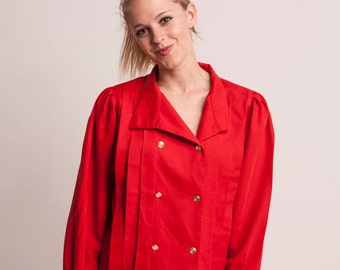 Vintage 90 's red blouse Puff sleeve