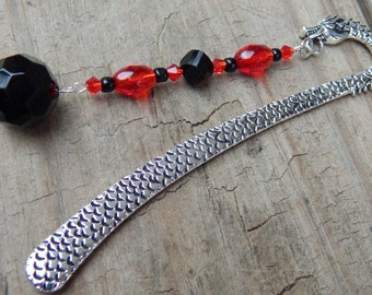Beaded Dragon Bookmark with Black and Red Glass Beads