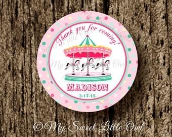 Carousel label - carnival Cupcake Topper - carousel Tags - carnival birthday - carousel baby shower - carnival printable - carnival sticker
