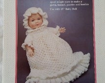 Christening gown pattern book for dolls, crochet doll clothes