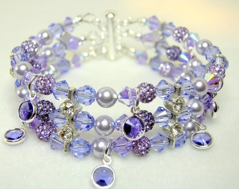 Lavender and Violet Crystal Bracelet