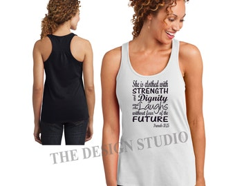 Religious Tank Top, Christian Tanks, She is Clothed with Strength, The Proverbs Women, Proverbs 31:25, Inspirational, Scripture Tanks,
