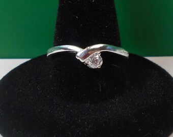 Tiny Silver CZ Solitaire Ring (Size 7)