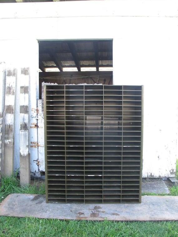large vintage metal shelving unit industrial metal by akaata. Black Bedroom Furniture Sets. Home Design Ideas