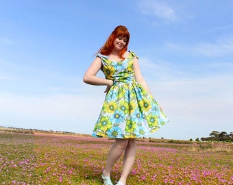 Vintage Sheet Inspired 1950's Floral Dress - Blue and Green