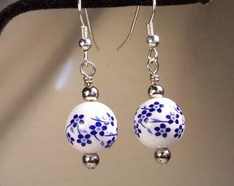 Blue Earrings, White Earrings, Round Earrings, Porcelain Ceramic Earrings, Floral Earrings, Flower Earrings, Dark Blue Earrings