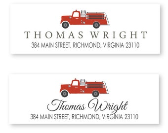 Fire Truck Return Address Labels, package of 60