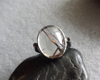Handmade Oxidized Sterling Silver Ring With Tourmalated Quartz and Brown Zircon