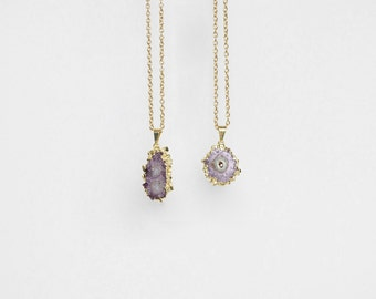 Petite Amethyst Stalactite Necklace / gold plated druzy pendant / 0682
