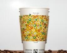 Polka dot Fabric Coffee Cozy - Tea Cup Cozy - Eco friendly cozy - Green Orange Red White - Premium