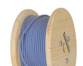 Fabric Cable Electric Textile Cable wire for Lighting Round 2x0.75 Blue Chevron Geometric Wooden Reel
