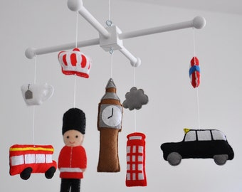 SALE - Crib mobile - Nursery decoration - London Baby - London-themed crib mobile - United Kingdom, England, British mobile, Great Britain