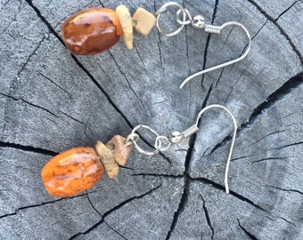 Orange Rocky Road Dangle Earrings