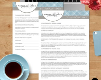 Session Contract Form - Ms Word & Photoshop Template for Photographers - INSTANT DOWNLOAD - SC003
