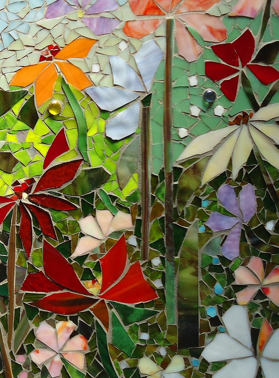 MOSAIC WALL ART Stained Glass Wall Decor Floral Garden Indoor Outdoor Patio  Art Wall Hanging Made To Order