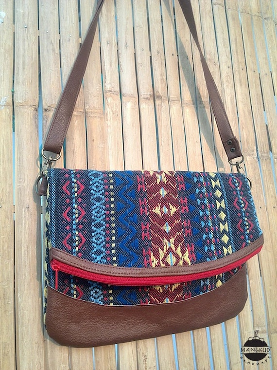 Convertible Indie Shoulder Bag PVC Leather Strap Tribal